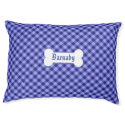 Plaid dog bed personalize blue check large dog bed