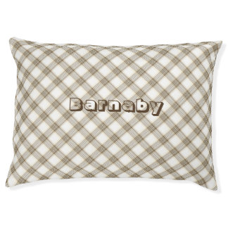 Plaid dog bed personalize golden white