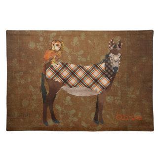 Plaid Donkey & Owl Placemat