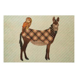 Plaid Donkey & Owl Wooden Canvas Wood Wall Decor