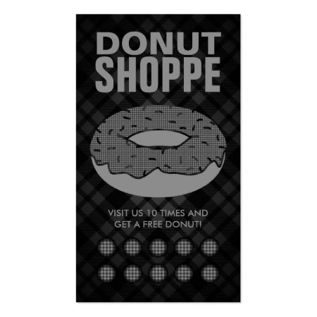 Black and Grey Plaid Donut Shop and Punch Card Business Cards