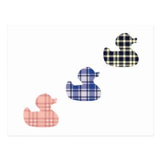 Plaid ducks postcard