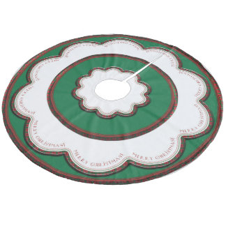 Plaid-Edged Green Tree Skirt with White Scallops