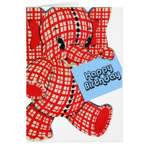 Plaid Elephant Birthday Greeting Card