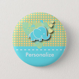 Plaid Elephant | DIY Text | Blue and Yellow Pinback Button