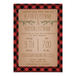 Plaid + Evergreen Branches Wedding Invite