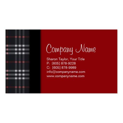 Plaid Fabric Business Card Black