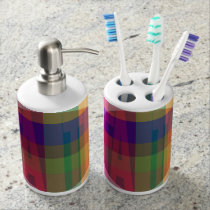 Plaid Faith Soap Dispenser And Toothbrush Holder