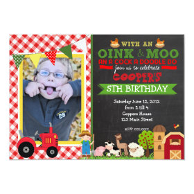 Plaid Farm Tractor Birthday Party Invitation 5