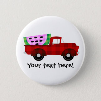 Plaid Farm truck Hauling Giant Watermelon Slice Pinback Button