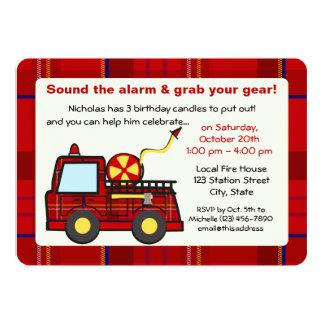 Plaid Fire Truck Birthday 5x7 Paper Invitation Card