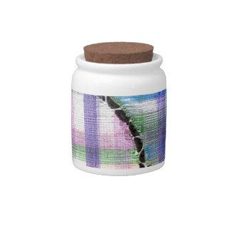 plaid floating on black candy jar