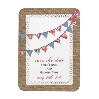 Plaid Floral Bunting Burlap Inspired Save The Date Magnet