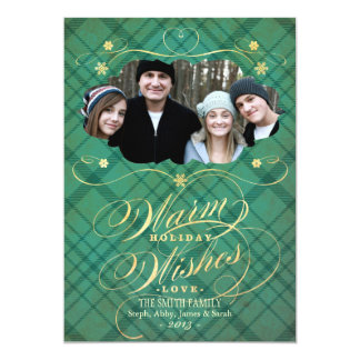 Plaid Flourish Calligraphy Warm Wishes Photo Card