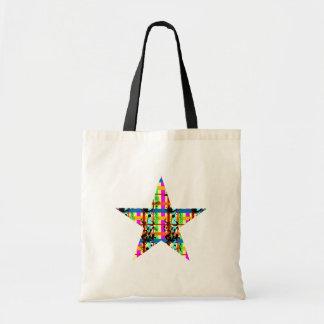 Plaid Flourish Star Budget Tote Bag