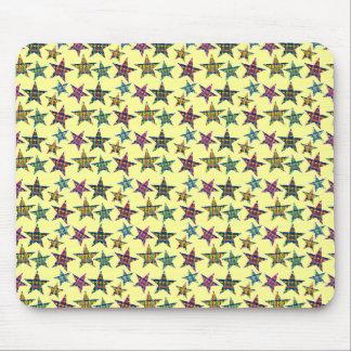 Plaid Flourish Stars Mouse Pad