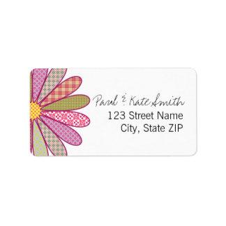 Plaid Flower Address Label