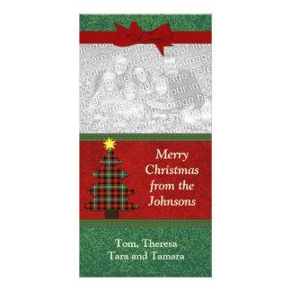 Plaid Folk Art Christmas Tree Custom Photo Card
