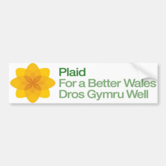 Plaid For a Better Wales Dros Gymru Well Bumper Sticker
