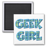 Plaid Geek Girl Blue and Green 2 Inch Square Magnet