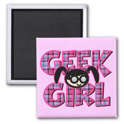 Plaid Geek Girl with Graphic 2 Inch Square Magnet