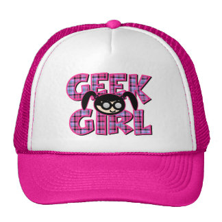 Plaid Geek Girl with Graphic Trucker Hat
