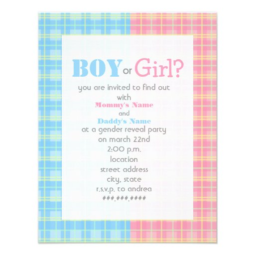 Plaid Gender Reveal Party Invitation
