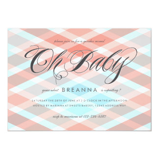 Plaid Gender Reveal Party Oh Baby Invitation