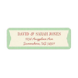Plaid Gingham Check Pattern Fabric Christmas Label