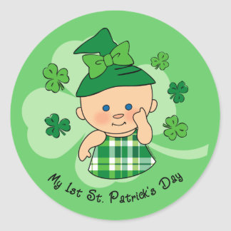 Plaid Girl 1st St. Patrick's Day Classic Round Sticker