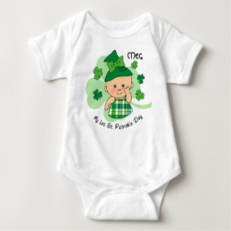 Plaid Girl 1st St. Patrick's Day Custom Baby Bodysuit