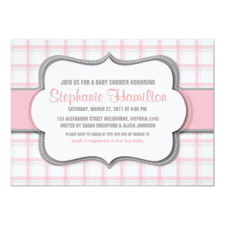 "Plaid girl shower trellis mosaic 4.5"" x 6.25"" invitation card"