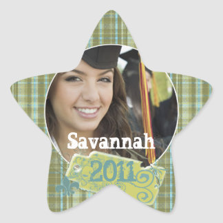 Plaid Graduation or Sweet Sixteen Photo Stickers