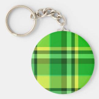 Plaid Green Yellow Basic Round Button Keychain