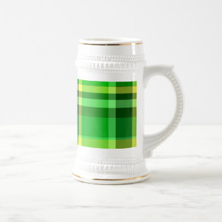 Plaid Green Yellow Beer Stein
