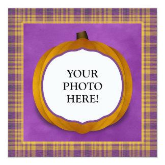 Plaid Halloween Party Custom Photo Pumpkin Invite