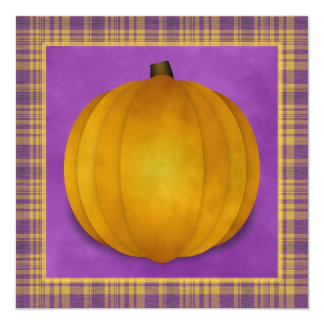 Plaid Halloween Party Orange Purple Pumpkin Invite