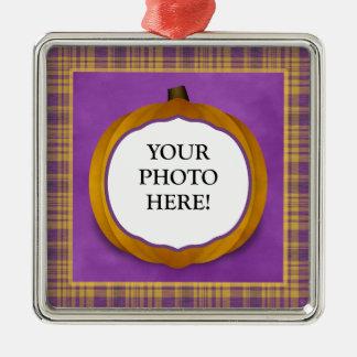 Plaid Halloween Pumpkin Custom Photo Ornament