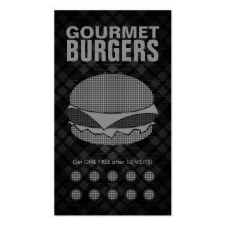 plaid hamburgers punch card business card