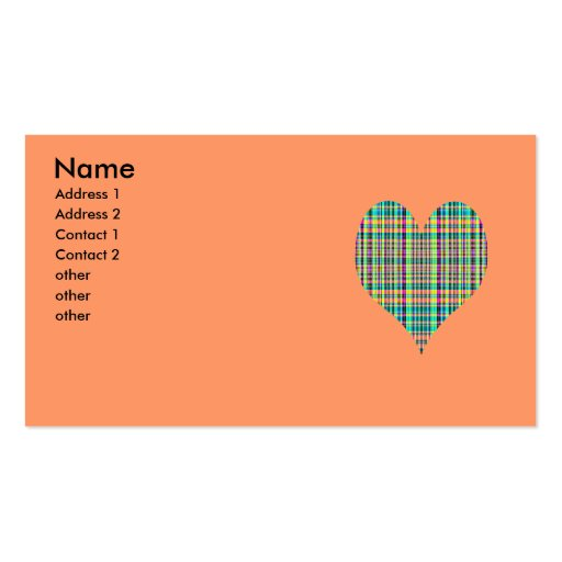 plaid heart Double-Sided standard business cards (Pack of 100)