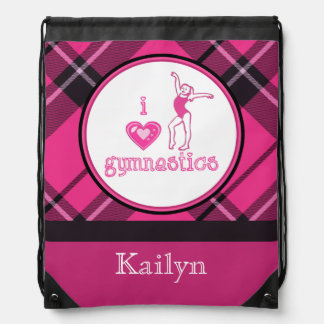 Plaid Heart Gymnastics Custom Name Backpack