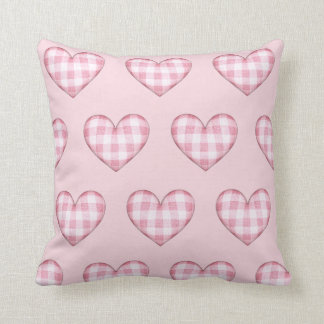 Plaid Heart Pattern Throw Pillow