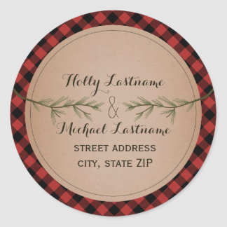 Plaid Heart With Evergreen Branches Address Classic Round Sticker