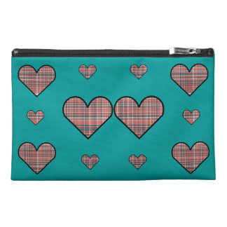Plaid Hearts Travel Accessories Bag