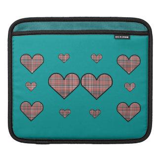 Plaid Hearts Sleeve For iPads