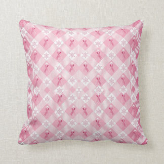 Plaid Holiday Breast Cancer Awareness Pillow