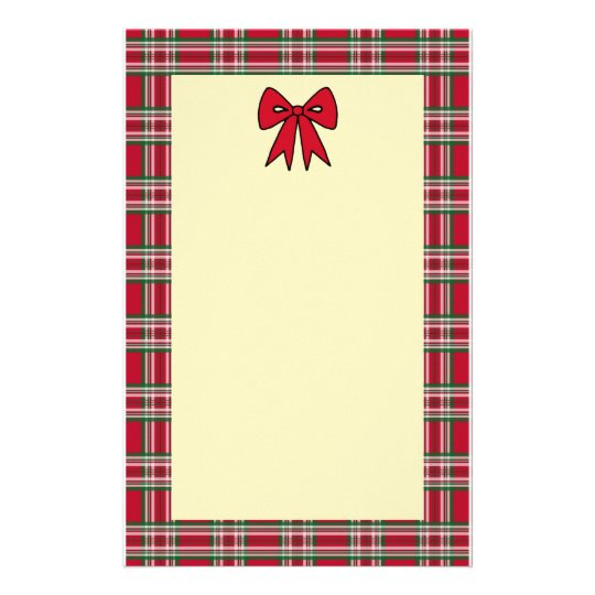 Plaid Holiday Christmas Letter Stationery Paper