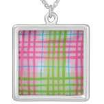 Plaid Hot Easter Colors Personalized Necklace