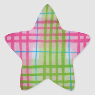 Plaid Hot Easter Colors Star Sticker
