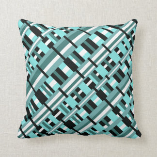 Plaid in Aqua, Teal, Black & White Diagonal Throw Pillow